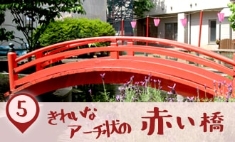 綺麗なアーチ状の赤い橋|こどもけやき苑